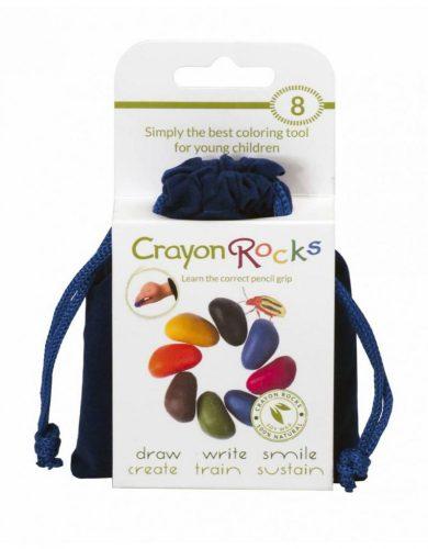 Crayon Rocks kavicskréta -  kék bársony tasakban (8 db)